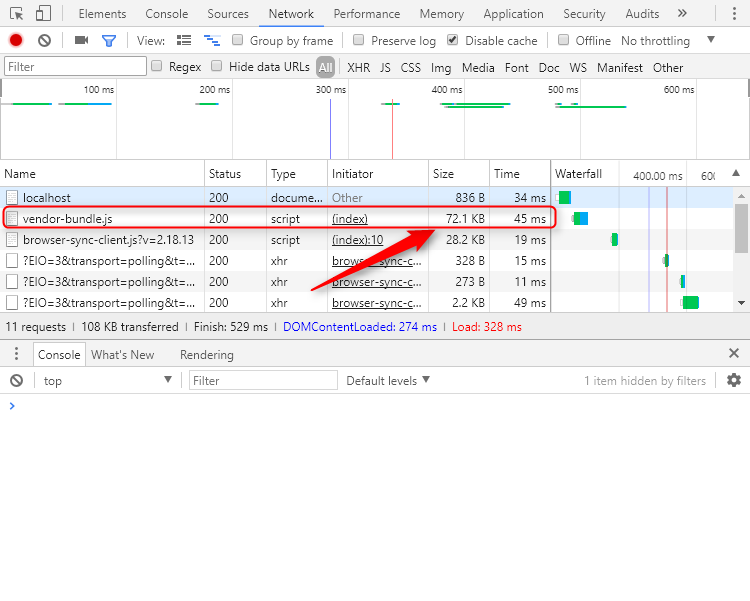 Devtools showing the vendor.bundle size using gzip